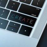 Botão Create no teclado de laptop