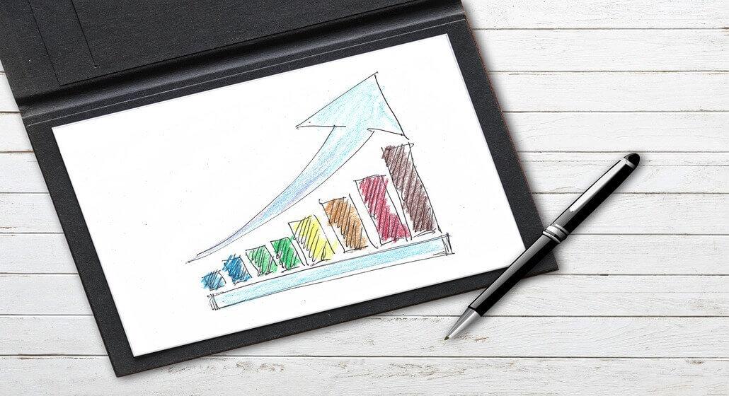 Tablet com gráfico em crescimento