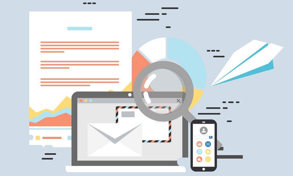 Ilustração de notebook com elementos de marketing em volta